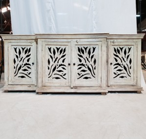 JALI Carved Floral Design Wooden 4 Door Large Sideboard White   212x50x90cm