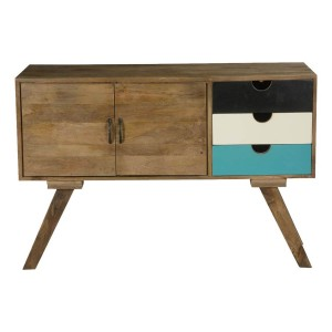 Vivid Indian Solid Wood 3 Drawer Hall Console Cabinet With Drawers