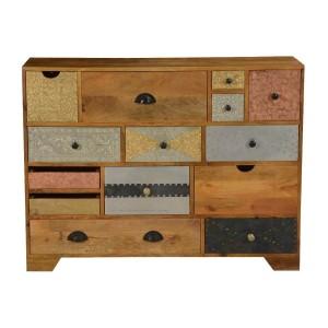 Vivid Indian Mango Wood Standard Horizontal 14 Drawer Dresser
