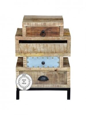 Lava Industrial Solid Wood Chest of Drawers Metal legs