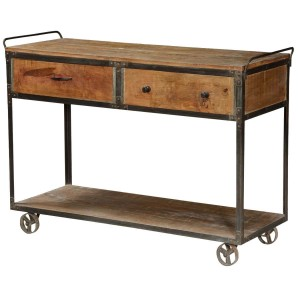"Modern Pioneer Mango Wood & Iron 50"" Rolling 2 Tier Cart w Drawers"