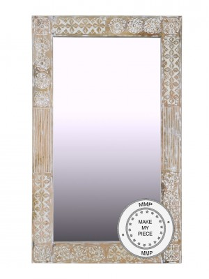 Hand Carved Indian Whitewashed Wooden Furniture Mirror