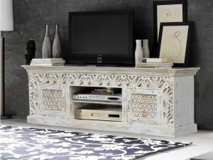 Indian Furniture Bleached Buffet Sideboard Cabinet White