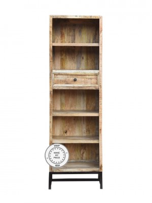 Solid Wood Indian Industrial Bookcase Metal Legs