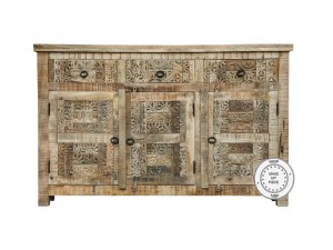 Indian Hand Carved Solid Wood Sideboard 145x40x85 cm