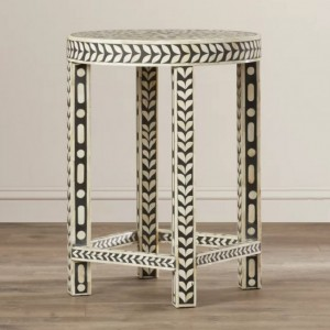 Maaya Bone Inlay Round Side Table White Grey Floral
