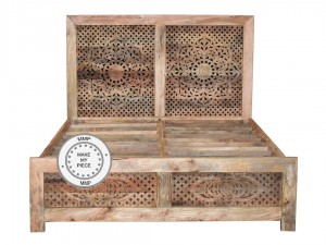 Indian Hand Carved Indian Wooden Bed queen mattress Natural