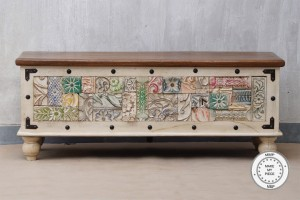 Indian hand carved Painted Boho Style Wooden Chest