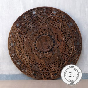 Dynasty Hand Craved Indian Solid Wood Brown Panel