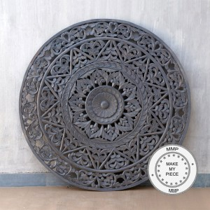 Dynasty Hand Craved Indian Solid Wood Grey Panel