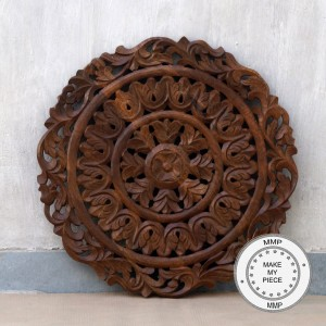 Dynasty Hand Carved Indian Wooden Round Bedhead Panel Brown