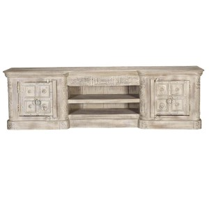 Blanc Indian Solid Wood Large Tv Stand Media Console Cabinet