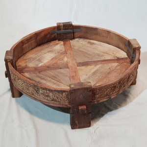 Tribal Chakki Antique Grinder Full Round Coffee Table Natural 65x65x30cm B