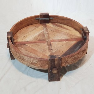 Tribal Chakki Antique Grinder Full Round Coffee Table Natural 65x65x30cm C