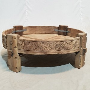 Tribal Chakki Antique Grinder Full Round Coffee Table Natural 65x65x30cm D