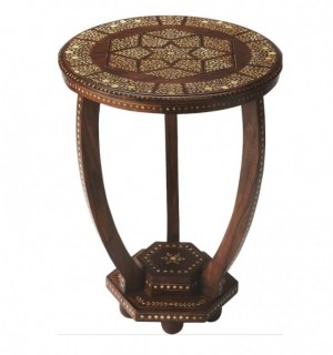 Maaya Bone Inlay Round Side Table White Brown Floral