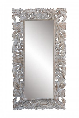 White Hand Carved Floral Mirror 60x120 cm