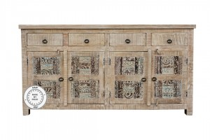 Yennora Indian Solid Wood Long Buffet Sideboard With Carved Doors Natural