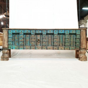 Indian Solid Antique Old Door Tribal console Large Hall Table Blue 220x46x82cm