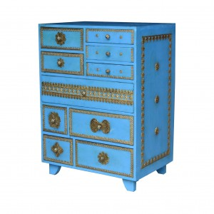 Brass Work Indian Solid Wood Chest Of Drawers Blue And Gold