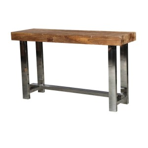 Modern Industrial Teak Wood & Polished Steel Hall Console Table