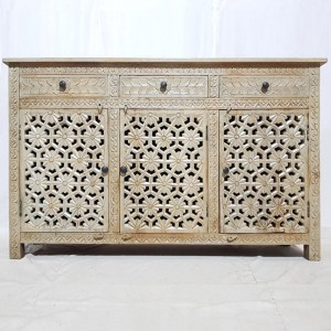 Shabby Chic Hand carved Jali design Large 3 door sideboard buffet 150x40x90cm