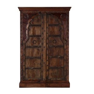 Mughal Garden Hand Carved Indian Solid Wood Tall Storage Cabinet