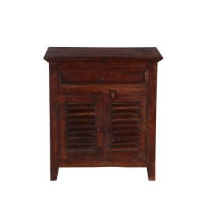 Shutter Indian Solid Wood Shutter Door 1 Drawer Storage Cabinet