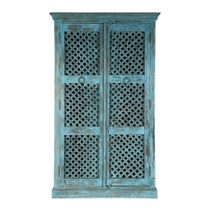Hand Carved Indian Solid Wood Farmhouse Style Lattice Door Cabinet