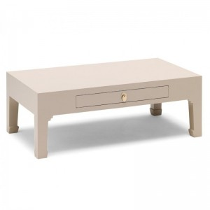 Golden Dragon Oriental Painted Solid Wood  Grey Coffee Table with Drawer 110x60x45cm