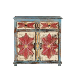 Hand Painted Blue Mango Wood 2 Door 2 Drawer Buffet Cabinet