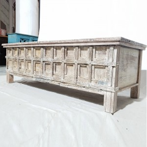 Indian Antique Old Wood Blanket Box Rustic White 141x56x46 cm