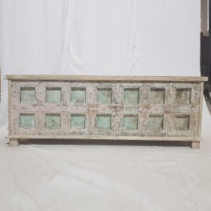 Indian Antique Old Wood Blanket Coffee Table chest Box Rustic White 1.6m