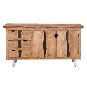 Live Edge Indian Solid Wood 3 Drawer Large Buffet Sideboard Cabinet