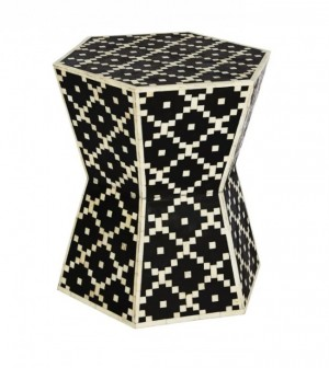 Maaya Bone Inlay Round drum Side Table Black Geometric