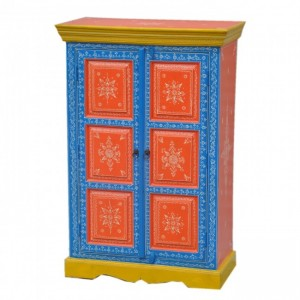 Pandora Hand Painted Cabinet Red Blue Floral