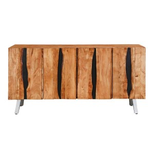 Live Edge Industrial Indian Solid Wood Large Buffet Sideboard Natural