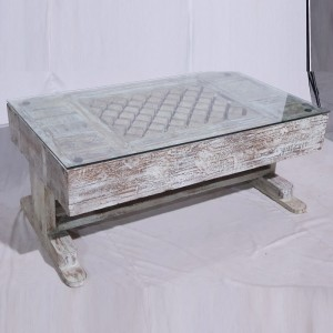 Solid Old Window inset Coffee Table White Wash With Glass Top 122x74x50cm