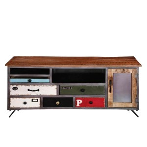 Vivid Industrial Indian Solid Wood & Iron Accent Tv Media Console