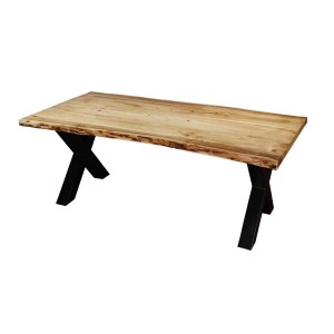 Industrial Cross Legs Acacia Wood Live Edge Dining Table