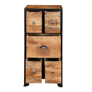 Barn Industrial Rustic Mango Wood 5 Drawer Accent Chest