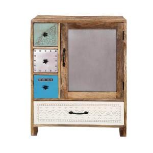Vivid Indian Mango Wood 4 Drawer Floor Standing Accent Cabinet