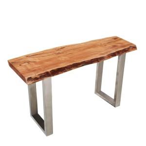 Natural Edge Acacia Wood & Steel Hall Console Table