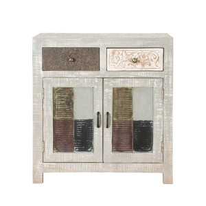 Vivid Indian Mango Wood 2 Drawer Small Buffet Cabinet White