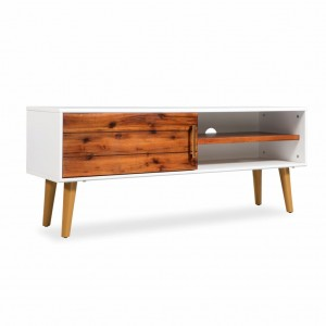 AVALON Solid wood 1Drawer Tv Unit Whitewash 120cm