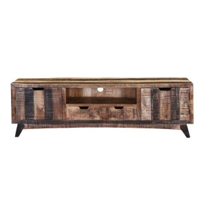 Vivid Handcrafted 2-Drawer Rustic Mango Wood TV Stand Media Console