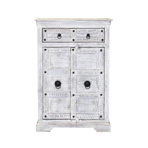 Rustica Winter White Reclaimed Wood Rustic 2 Drawer Storage Cabinet
