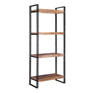 Corvallis 4 Shelf Solid Wood Industrial Bookcase