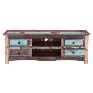 Rustica Indian Reclaimed Wood Open Shelf 4 Drawer TV Media Console