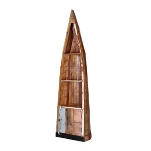 Mauka Reclaimed Wood Canoe Bookcase with Door